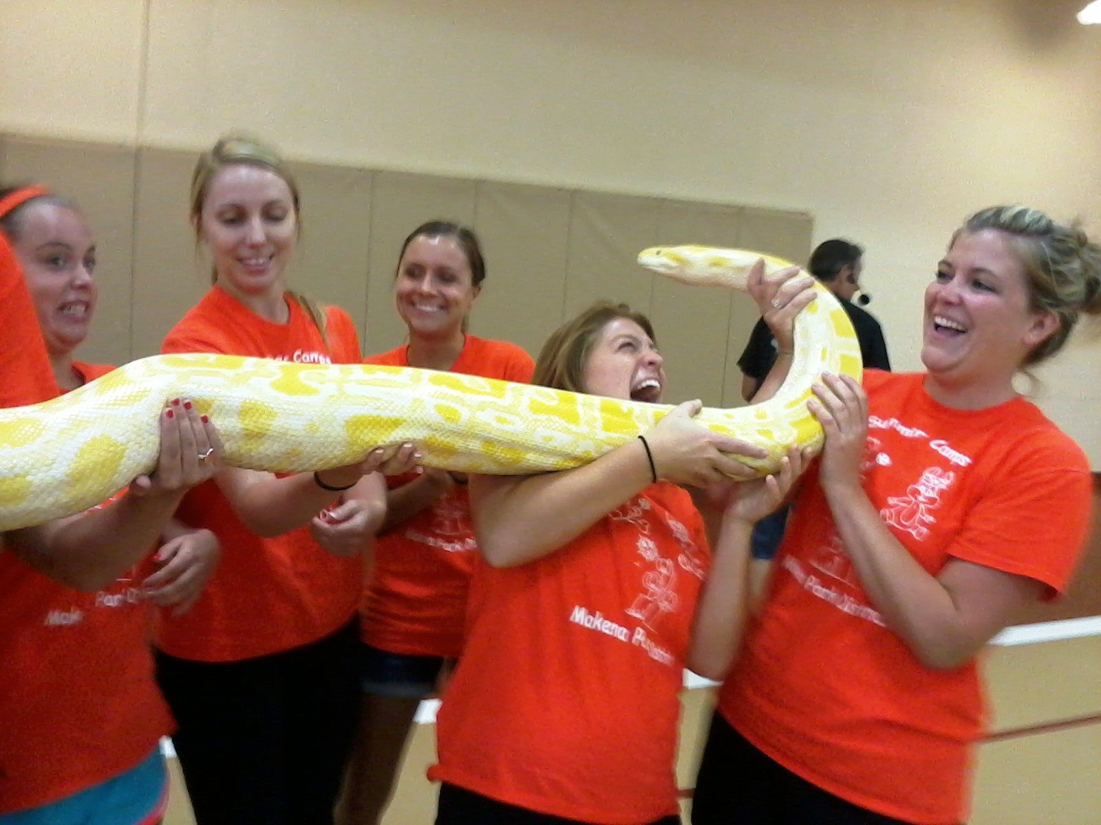 Summer Counselors and a Big Snake